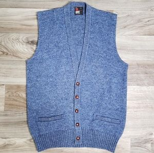 Vtg Robert Bruce Wool Blue Sweater Vest B17